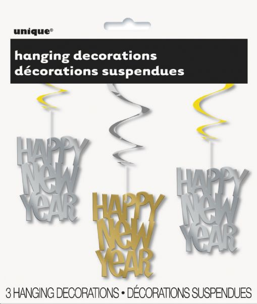 New Years Gold & Silver Hanging Swirl Decorations (3)